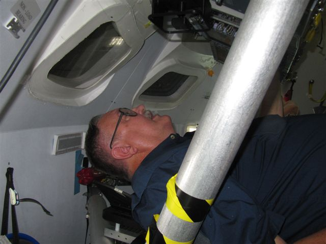 Closeup in trainer crew seat